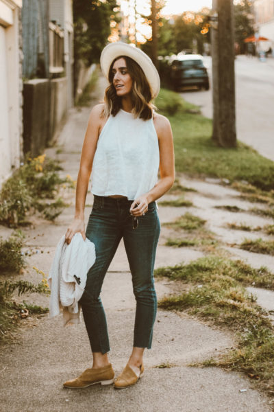 End of Summer Outfit | DIY No Hem Jeans